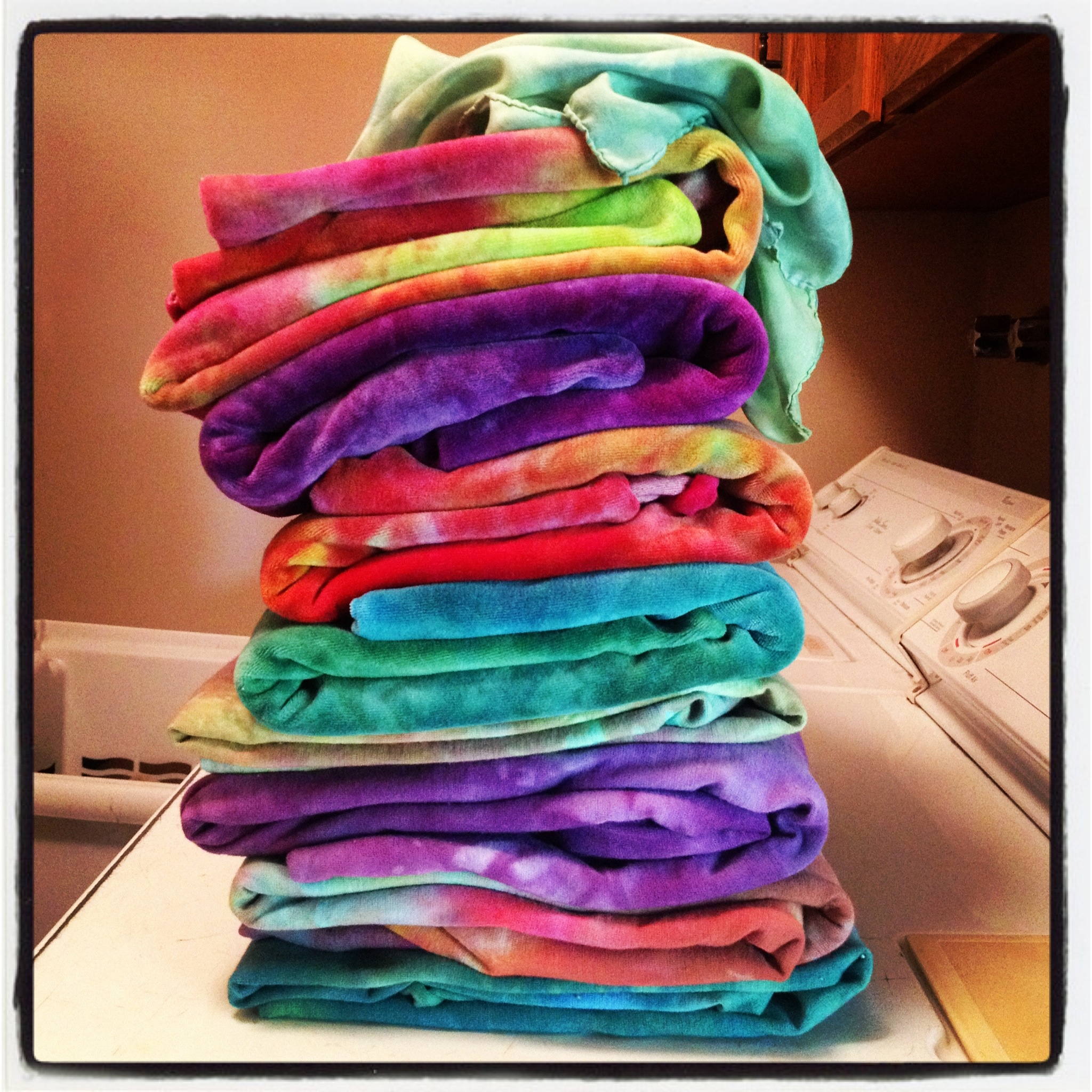 Stack of fluffy dyed goodness.