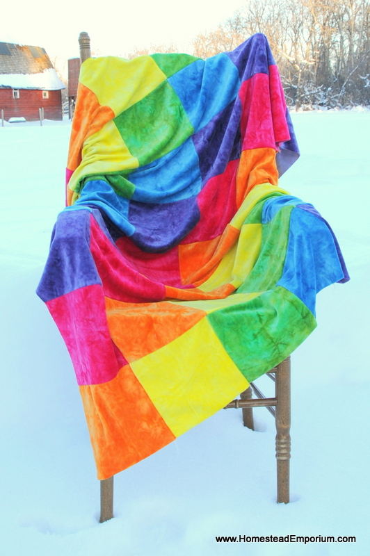 Hand Dyed Bamboo Velour Rainbow Quilt.